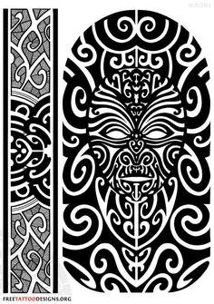 Maori Tattoo Design: Face and Armband