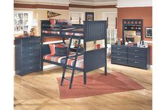@myashleyhome, IHFC H900, blue twin over twin bunk beds and five drawer chest youth bedroom set #DesignOnHPMkt #HPMKT #youthfurniture
