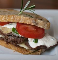 Recipe for Roast Beef Sandwich with Horseradish Cream Sauce - This is oh so good. It is the perfect meal to throw together. This is packed with lean protein and plenty of calcium for your bones and muscles.