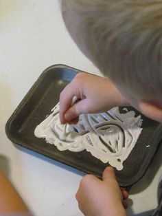 Ghost writing (qtips are perfect for practicing pincher fingers, and for all my kids who hate to get stuff on their fingers... talk about a class full of sensory issues...)