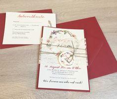 Hochzeitskarten - Einladung Vintage/Blumen III - Scarletrot - ein Designerstück von printsonalities bei DaWanda