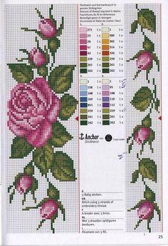 Really nice Cross-Stitch towel flowers patterns. Cross Stitch Bookmarks, Cross Stitch Borders, Cross Stitch Rose, Cross Stitch Flowers, Cross Stitch Designs, Cross Stitching, Cross Stitch Embroidery, Embroidery Patterns, Hand Embroidery