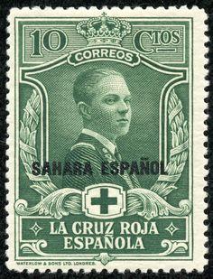 "Spanish Sahara 1926 Scott B2 10c dark green ""Prince of Asturias"" Red Cross Issue Types of Semi-Postal Stamps of Spain, 1926, Overprinted"
