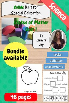 States of Matter : Solids unit contains over 40 pages of material specifically designed for students with special learning needs, especially autism. This unit address the characteristics of solids.  There is a book, activities, worksheets, and assessments.  This is part of a larger money saving bundle on all the states of matter.  Link in the product description.  Download at:  https://www.teacherspayteachers.com/Product/Solids-Science-Unit-for-Special-Education-2464191