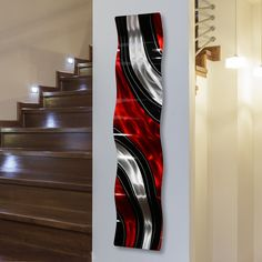 New Modern Red, Black Silver Vibrant Metal Wall Wave Accent - Abstract Contemporary Hand-Painted Home Office Decor Sculpture - Critical Mass Wave Jon Allen - 46 x 10 online shopping - Prettytrendyfashion Metal Sculpture Wall Art, Wall Sculptures, Metal Wall Art, 3d Wall, Panel Wall Art, Outdoor Art, Outdoor Spaces, Indoor Outdoor, Modern Spaces