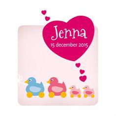 Leuk schattig geboorte kaartje met eendjes voor een dochter en een zusje.  Maak je eerste kaart gratis op www.kaartje2go.nl  #geboorte #meisje #eendjes #hartje #geboortekaartje