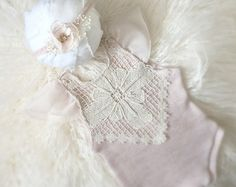 Newborn Mauve Lace Romper Set baby jumper by PetuniaandIvy