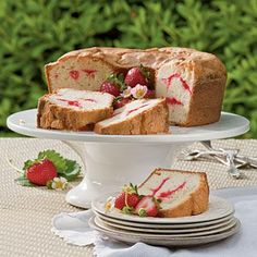 Strawberry Swirl Cream Cheese Pound Cake | Lemonade spritzers and mint iced tea make delicious accompaniments to Strawberry Swirl Cream Cheese Pound Cake. | #Recipes | SouthernLiving.com
