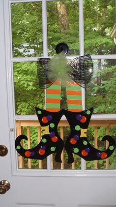 Halloween Witch's Shoes Door Hanger by DoorArtByDSign on Etsy