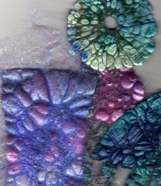 Paint Tyvek with Lumiere paints Cut to a size that suits, allowing for some shrinkage. Lay a sheet of baking paper over it and gently iron. Watch as the Tyvek shrinks and shrivels and stop when you're happy with the result. Textiles Techniques, Art Techniques, Art Textile, Textile Design, Arts And Crafts, Paper Crafts, Diy Crafts, Fabric Manipulation, Paper Beads