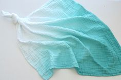 Teal ombré dyed muslin security baby blanket Muslin Blankets, Muslin Swaddle Blanket, Teal Ombre, Baby Security Blanket, Pregnancy Gifts, Dyes, Charity, Baby Gifts, Alcohol