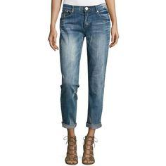 One Teaspoon Mid-Rise Baggie Boyfriend Jeans ($89) ❤ liked on Polyvore featuring jeans, pru blue, baggy jeans, ripped boyfriend jeans, destroyed boyfriend jeans, destructed boyfriend jeans and relaxed fit boyfriend jeans