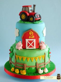 pictures of tractor birthday cakes 3 Year Old Birthday Cake, Tractor Birthday Cakes, Twin Birthday Cakes, Tractor Cakes, 2nd Birthday, Barnyard Cake, Farm Cake, Cupcakes, Cupcake Cakes