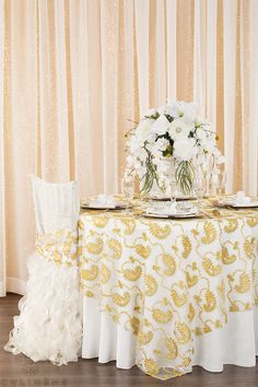 Gold & Ivory Paisley Sequin look for wedding receptions and anniversary parties