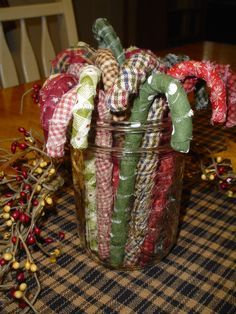 A New Twist on the Homespun Candy Cane! Fabric Wrapped Candy Canes w/tutorial Candy Cane Crafts, Candy Cane Ornament, Diy Christmas Ornaments, Christmas Projects, Holiday Crafts, Christmas Ideas, Candy Cane Decorations, Christmas Fabric Crafts, House Decorations