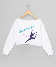 White Dance Personalized Crop Top - Girls