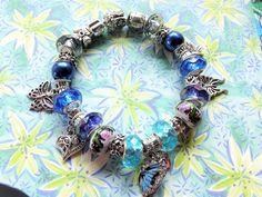 Blue Morpho Butterfly Threatened Tropical Rainforest Species, European Charm Awareness Bracelet Snake Bracelet Butterfly Jewelry Bracelet by BlingItOutLoudCharms on Etsy