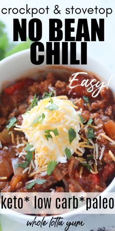 Low carb keto chili for your slow cooker and on the stovetop. This easy crockpot keto chili recipe will become one of your favorite keto dinner recipes. The chili with no beans is gluten free, paleo and Whole 30 too. Chili Recipe Stovetop, Keto Chili Recipe, Chilli Recipes, Keto Recipes, Slow Cooker Beanless Chili Recipe, Low Calorie Chili Recipe, Easy Crockpot Chili, Salad Recipes