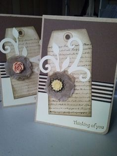 Cards using Kaszazz papers, stamps, ribbon and embellishment. Made by Kathryn James id 106774, March 2014.