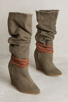 Howsty Neela Boots - Made with supple leathers and vintage fabrics such as stitchy kantha and rugged kilim  #anthropologie