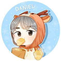 Kang Daniel Band Stickers, Cute Stickers, Bts Chibi, Anime Chibi, Chibi Wallpaper, Single Pic, First Art, Kpop Fanart, Seong