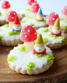 Snowy Woodland Cookies {With Toadstools and Gnomes} by Munchkin Munchies.