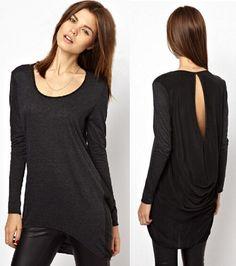 Buy 2014 new fashion women s back split chiffon stitching long sleeve round  collar t-shirt from newdress 758342f0f3