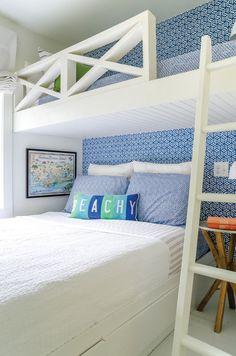 Peek Inside this Beachy Fixer-Upper Beach House Bedroom, Beach Room, Beach House Decor, Home Bedroom, Bedroom Decor, Home Decor, Beach House Rentals, Beach Cottage Bedrooms, Beach Apartment Decor