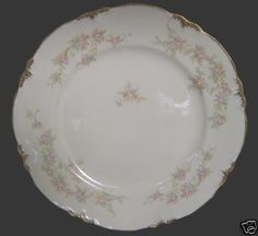 Smith-Taylor-TST-1696-Pink-Blue-Gold-Floral-Lg-Plate Red And Pink, Pink Blue, Taylor Smith, China Patterns, Vintage Pottery, China Dinnerware, Blue Gold, Plates, Ceramics
