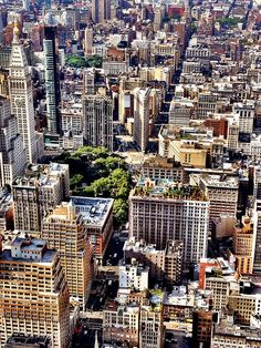NYC. Flatiron Building in the middle and New York City Skyline from above by Vivienne Gucwa.