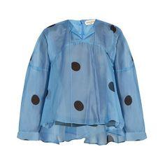 Natasha Zinko Polka-dot print silk-chiffon blouse ($325) ❤ liked on Polyvore featuring tops, blouses, blue top, blue polka dot blouse, blue blouse, dot blouse and polka dot blouse