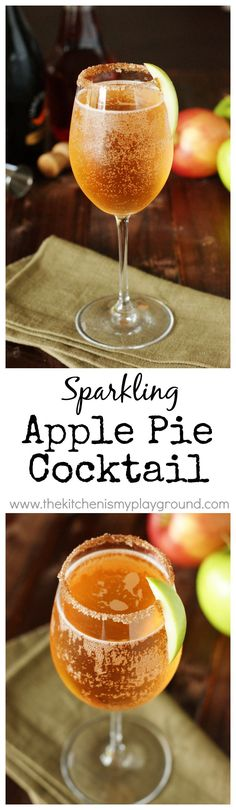 Sparkling Apple Pie Cocktail ~ a perfect cocktail for Fall sipping! Try Albergian apple drink in this cocktail! Cointreau Cocktail, Cocktails Champagne, Cocktail Drinks, Cocktail Recipes, Cocktail Ideas, Apple Recipes, Fall Recipes, Holiday Recipes, Snacks Für Party