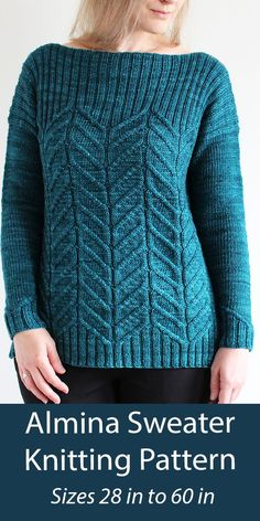 """Sweater Knitting Pattern Almina Sweater This beautiful boat neck pullover sweater features a large, eye-catching cable motif that elegantly transitions into a wide ribbing. Sizes Bust 28 (32, 36, 40, 44) (48, 52, 56, 60)"""" / 71 (81, 91.5, 101.5, 112) 122, 132, 142, 152.5 cm. Worsted weight yarn. Designed by Lisa Hannes Off Shoulder Sweater, Off Shoulder Tops, Sweater Knitting Patterns, Free Knitting, Single Crochet Stitch, Knit In The Round, Red Heart Yarn, Sweater Design, Garter Stitch"""
