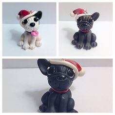 Polymer clay French Bulldog Frenchie Christmas ornaments. Handmade with Sculpey Premo Made on commission. Please see my etsy store for my other creations and to contact me about commissioned work https://www.etsy.com/shop/TempiesMenagerie
