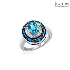 1.5ctw Genuine Blue Topaz & Diamond Accent Ring in Sterling Silver