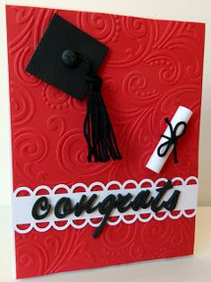 Pattitudes: Graduation Cards For the background on this card I used an embossing folder from The Paper Studio that I picked up at Hobby Lobby. It's called Intricate Swirl. The cardstock is from PTI in pure poppy, true black and white. I used an EK Success punch called open scallop on the border of the white cardstock. For the hat I just used a black square of cardstock and added a black brad. The tassel is made from black crotchet thread. I just rolled up white paper for the diploma. The…