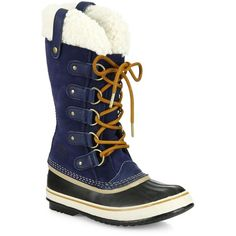 Sorel Joan Of Artic Suede & Shearling Winter Boots ($154) ❤ liked on Polyvore featuring shoes, boots, apparel & accessories, collegiate navy, lace up booties, lace up boots, navy suede boots, navy blue suede boots and navy blue suede booties