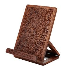 For Mom - Look what I found at UncommonGoods: Hand Carved Wooden Cookbook Stand for $79 #uncommongoods