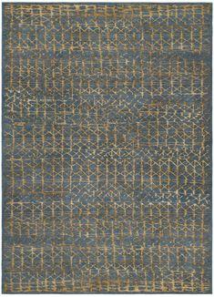 Blue grey - dark gold. Hand knotted in wool, pattern in silk. Made in Nepal. Design Kristiina Lassus.
