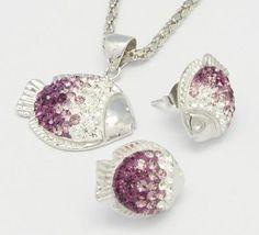 Sterling Silver Swarovski Crystal Jewelry Set, Pendants and Ear Studs