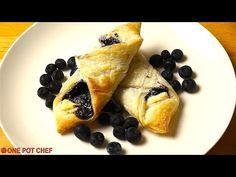 Puff pastry, ricotta and blueberries.  YUM.