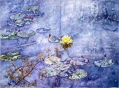 Lily Pond, Lannis, Restoration, watercolor on paper by Joseph Raffael
