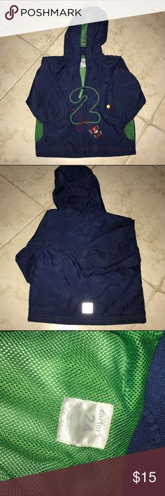 Carters - Boys zip up windbreaker with hood Full zip windbreaker with hood and race car design. Back has reflective patch at bottom. Filled lined mesh. Color is navy blue. In great condition. Carter's Jackets & Coats
