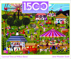 1500 Piece Jane Wooster Scott Jigsaw Puzzle | 1500 Piece Puzzles - Carnival Time at Willow Bend | americana Ceaco