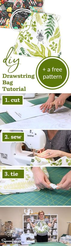 This DIY Drawstring Backpack is a Cinch!   Video Tutorial + Free Pattern - Spoonflower-DIY-Drawstring-PatternIf you're looking for a functional and stylish way to transport small items, look no further than the DIY drawstring backpack. It sews up quick thanks to this free PDF pattern, and only uses 1 yard of fabric and some drawstring. We can't stop making them in our Lightweight Cotton Twill! #diy #sewing #easydiy #sew #tutorial #sewingpattern #ilovesewing #backpack #easy tutorial