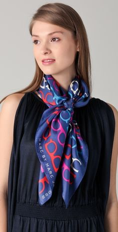 Marc by Marc Jacobs What A Spectacle Scarf Style Ways To Wear A Scarf, How To Wear Scarves, Classy And Fab, Silk Neck Scarf, Diy Scarf, Long Scarf, Neck Scarves, Scarf Styles, Womens Scarves