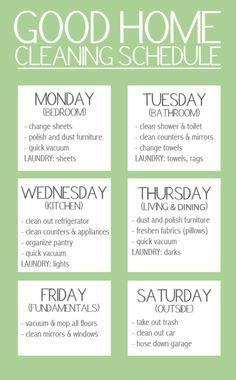 """Good Home Cleaning Schedule. """"Keep your stress levels to a minimum by spreading out your workload over the week. But, don't forget to give yourself a day of rest!"""" A nice simplified version of cleaning schedule Household Cleaning Schedule, House Cleaning Tips, Diy Cleaning Products, Cleaning Solutions, Cleaning Hacks, Cleaning Lists, Cleaning Calendar, Cleaning Routines, House Cleaning Schedules"""