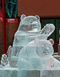 Ice Sculpture - Panda Bears