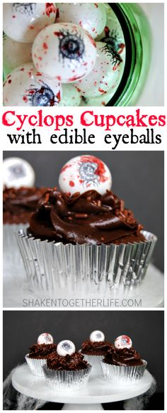 These could be a fun addition to the Bake Sale Cyclops Cupcakes with edible eyeball toppers! Holiday Cupcakes, Halloween Cupcakes, Yummy Cupcakes, Halloween Treats, Halloween Halloween, Yummy Treats, Sweet Treats, Weird Food, Pie Cake