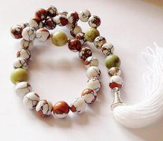 Turkish Islamic 33 Prayer Beads, Tesbih, Tasbih, Misbaha, Sufi, Worry Beads, Pocket Beads, Multi colour Turkey Turquoise, Green Opal on Etsy, $40.00